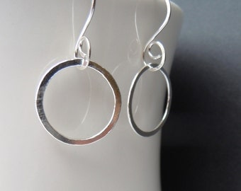 Medium Smooth Silver Hoop Earrings, Sterling Silver Classic Hoops, Hand Forged Metal Jewelry