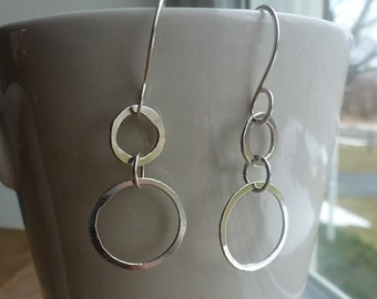 Hand Forged Metal Jewelry | Silver Linked Hoop Earrings, Fine Sterling Silver, Gift, Christmas, Birthday, Teen, Anniversary,
