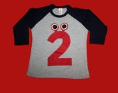 Number 2-Monster Shirt, grey,navy, w/RED, 3/4 sleeves - ScreenPrinted