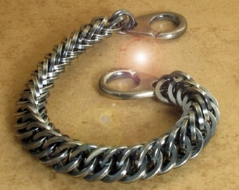Mens Silver Chain Link Bracelet - Hand Woven Chainmaille Oxidized Sterling Silver