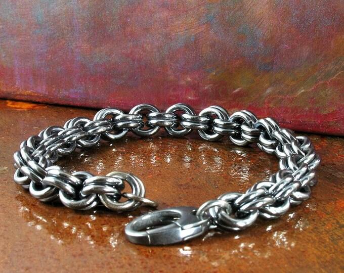 Custom Hand Woven Men's 2 in 2 Bracelet in Oxidized Sterling Silver