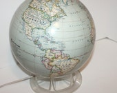 Vintage Replogle Globe Time Life Light Up with Stand 1970s