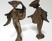 Vintage Cast Iron Figures Japanese Geisha Figurines Abstract Modern