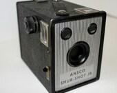 Vintage Ansco Sure Shot Jr Camera 1940s Black Box Type 40s