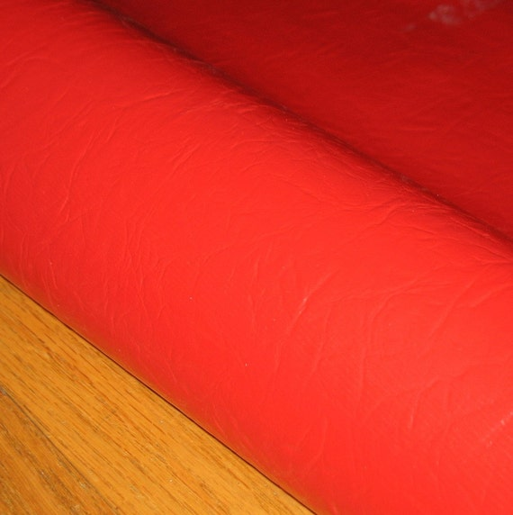 Vintage Red Vinyl Bolt Upholstery Fabric Retro By