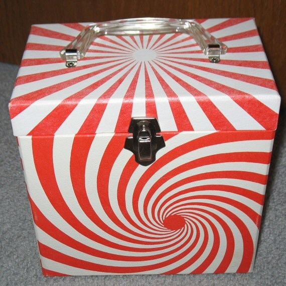 Vintage 45 Rpm Record Storage Box Psychedelic Swirl Pinwheel