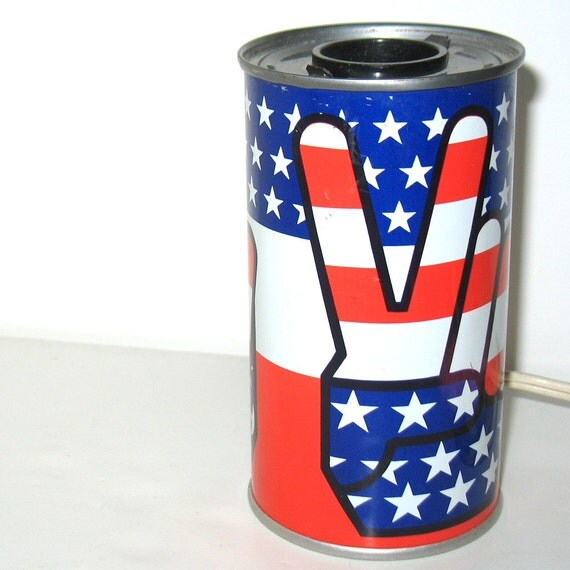 Vintage Peace Sign Steel Metal Can Lamp Texas Patriotic American Stars and Stripes