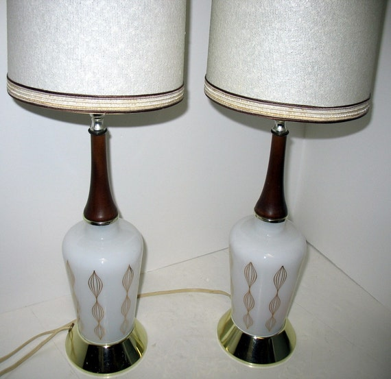 Vintage Mid Century Modern Table Lamps Bedroom End White Gold