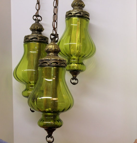 Vintage 3 Triple Globe Swag Light Lamp Moss Green By
