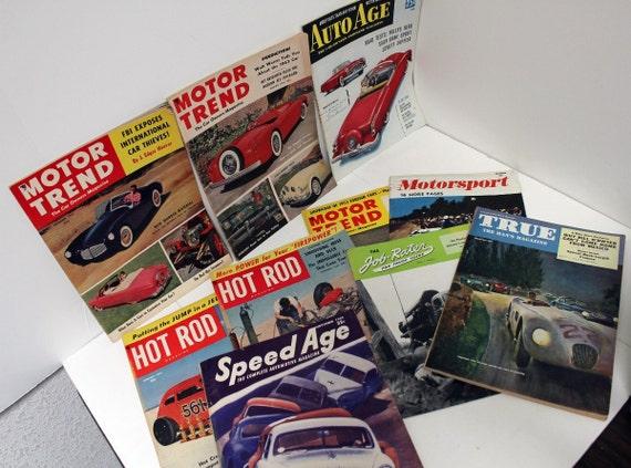 10 Vintage Auto Car Race Motor Magazines Mens 1950s