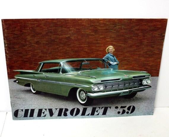 Vintage 1959 59 Chevrolet Brochure Chevy Original Impala Bell Air Biscayne Wagons Corvette