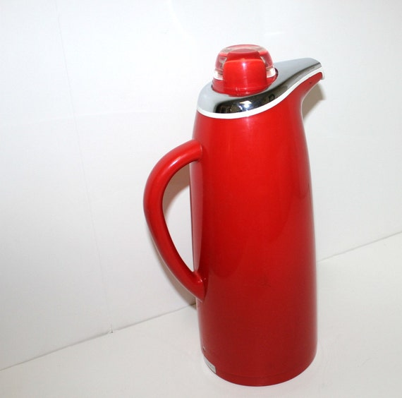 Vintage Coffee Carafe Thermos Red Corning Designs Pitcher