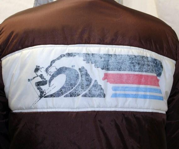 Mens Vintage Pipeline Ski Jacket Coat with Logo Skier Back