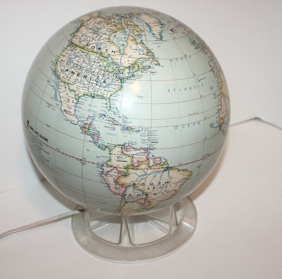 Light Tower Globes: Vintage Replogle Globe Time Life Light Up With Stand 1970s