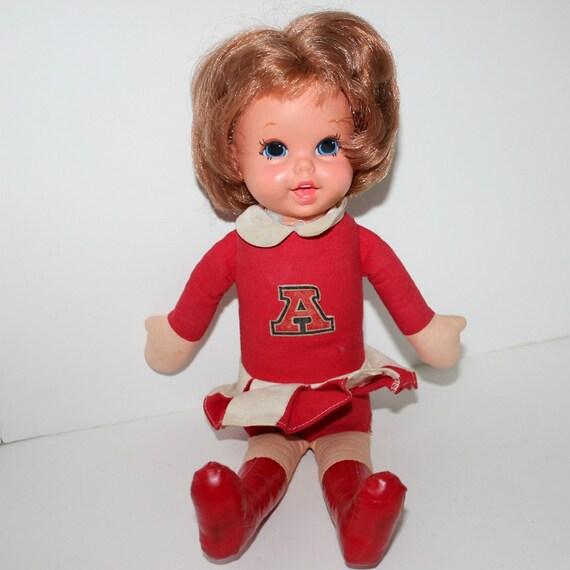 Vintage Arkansas Razorbacks Doll Talking Cheerleader Mattel 1960s