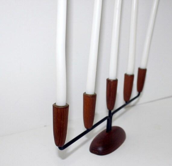Danish Vintage Candle Holder in Box Denmark Luthje Design Teak Wood