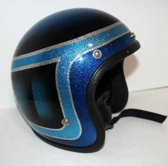 Vintage Motorcycle Helmet Blue Metal Flake Sparkle Metallic