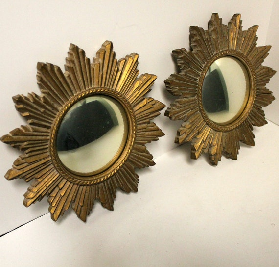 Vintage Syroco Wood Convex Mirrors Wall Decor Hangings Sunflower Starburst