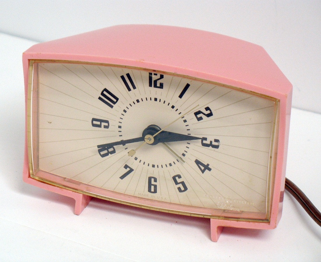 Vintage Ge Pink Alarm Clock General Electric Mid Century