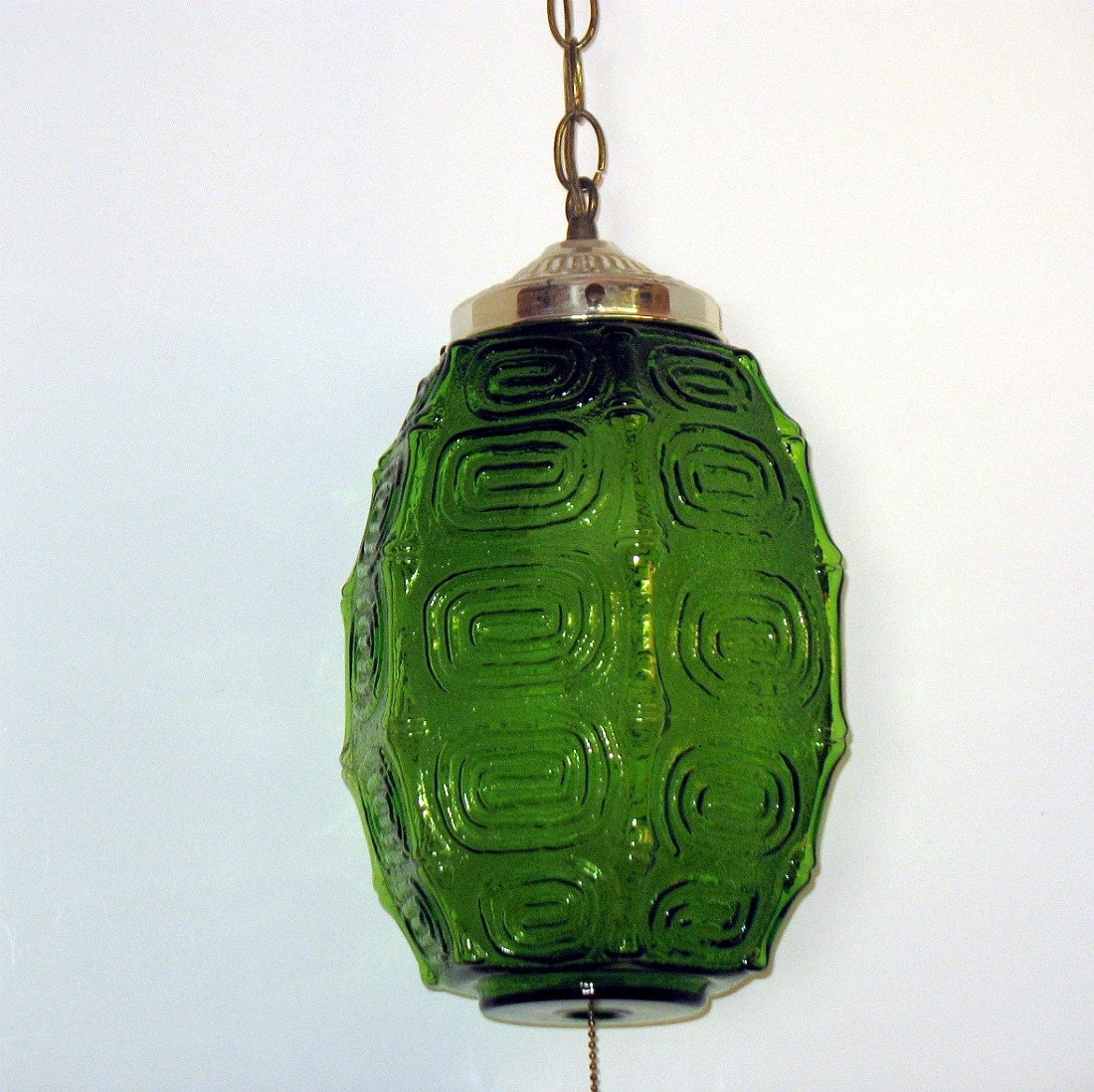 Vintage Green Glass Swag Lamp Light Ceiling Pendant Oval Melon