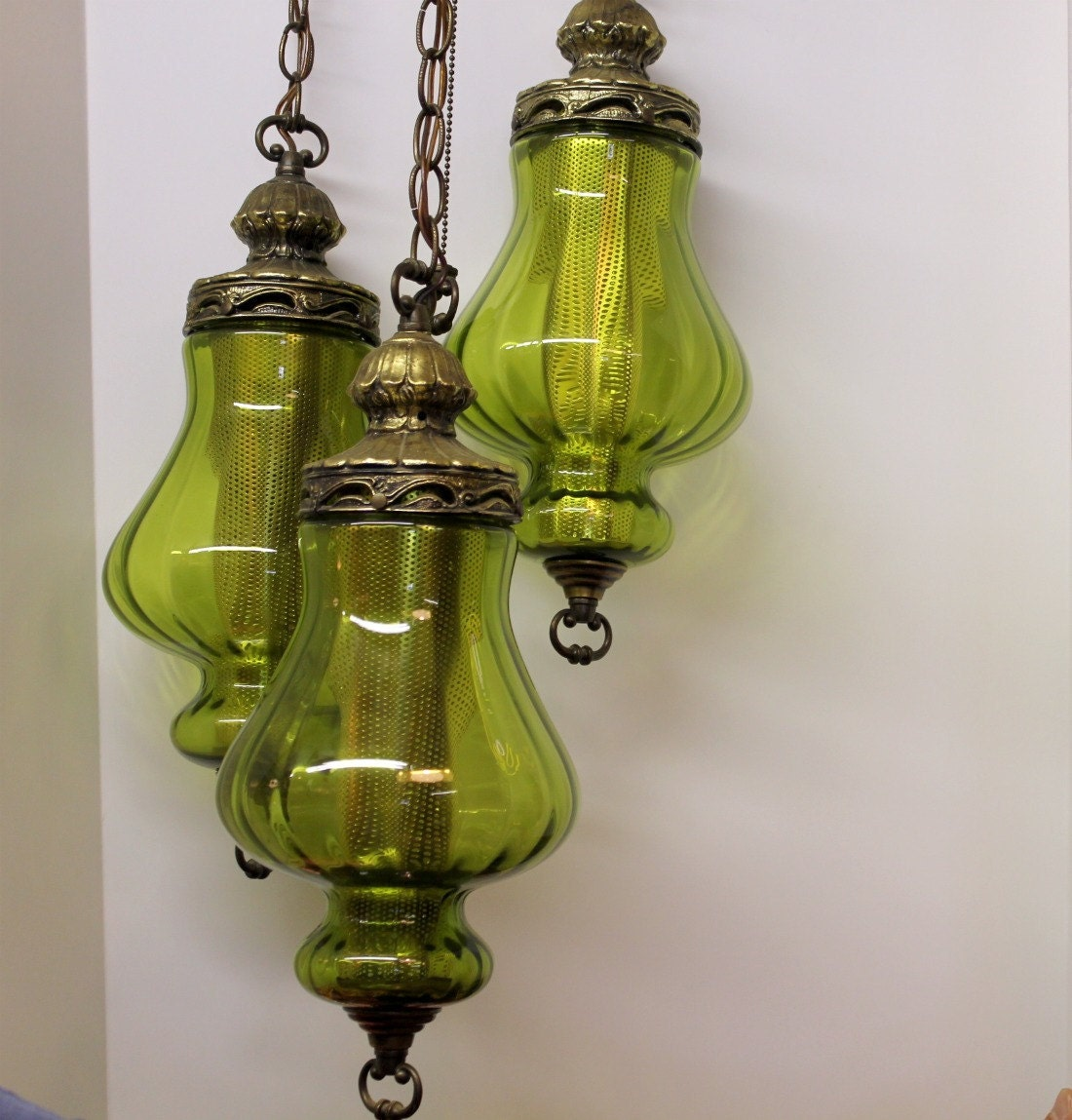 Vintage 3 Triple Globe Swag Light Lamp Moss Green