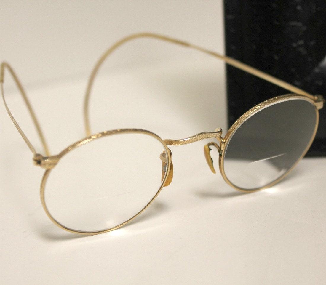 Gold Frame Vintage Glasses : Vintage Gold Round Eyeglasses Frames Bausch & Lomb 1930s Deco