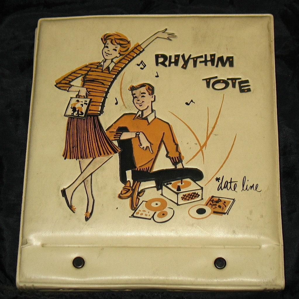 vintage dateline rhythm tote 45 vinyl record holder case. Black Bedroom Furniture Sets. Home Design Ideas