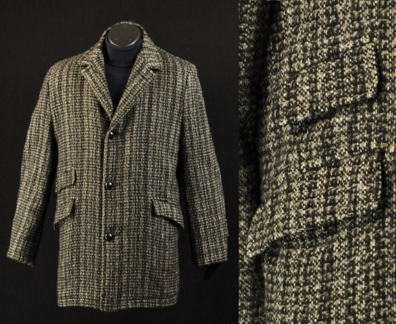 Vintage 70s Mens Wool Tweed Coat 42 Country Gentleman