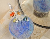 Pincushion Needle felted repurposed vintage assemblage