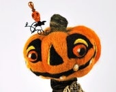 Jack O Lantern needle felted assemblage with skull pin 002