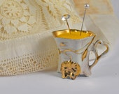 Small sweet pincushion in a Art Nouveau vintage tea cup