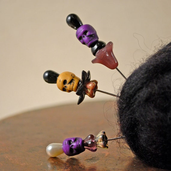 Set of three skull stick pins (purple and coffee colored skull pin toppers)