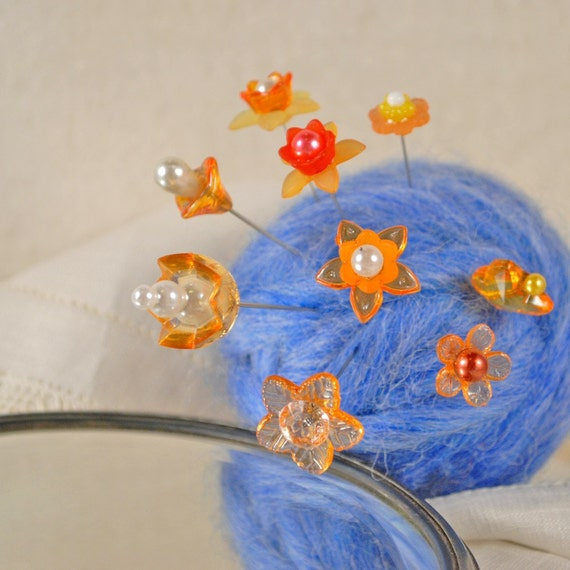 Set of nine gorgeous orange flower pin toppers for pin cushions (Group 71)