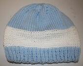 handknit cap beanie hat TEEN or ADULT baby blue white