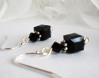 Crystal Earrings Swarovski Jet Black Sterling Silver - Hannah - wedding birthday anniversary gift for her FG26HA