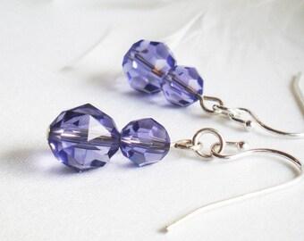 Crystal Earrings Sterling Silver - Swarovski Tanzanite Crystal - Cheryl - wedding bride prom anniversary gift for her birthstone  FG14CH