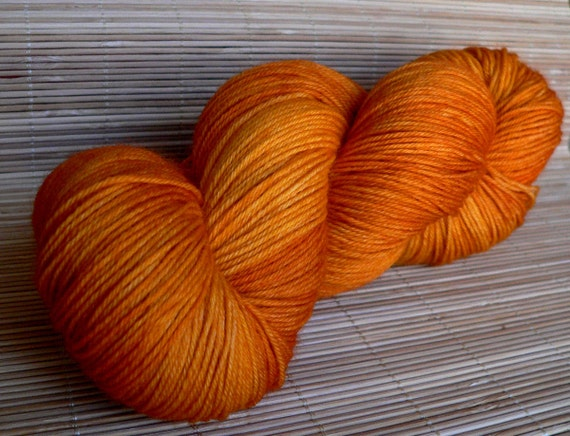 SW Sock Yarn Merino Wool Handdyed Pumpkin Yellow