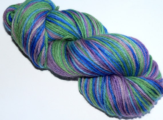 Hand dyed Worsted Weight Yarn 220 Yards Wool Peacock