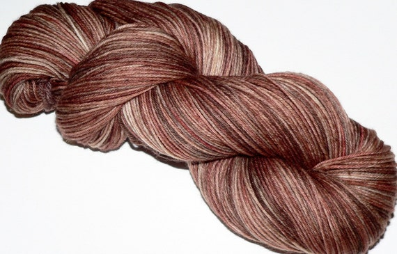 Sock Yarn Hand dyed 462 yards Superwash Merino Wool Toffee Handdyed