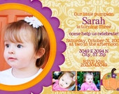 Our Pretty Little Pumpkin- Custom birthday invitation for your little girl