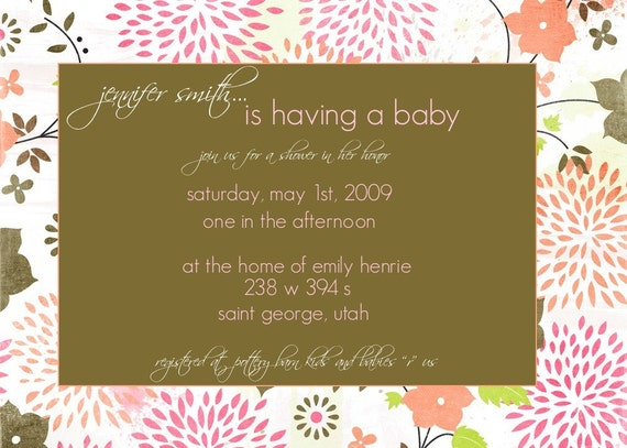 pink and olive bloom-- custom baby shower announcment- or bridal shower invitation- you print