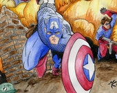 Captain America and Bucky circa 1944 - PRINT