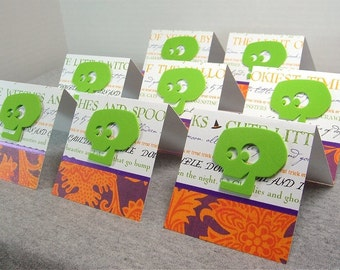 Green Skull Blank Note Cards 3x3 (8)