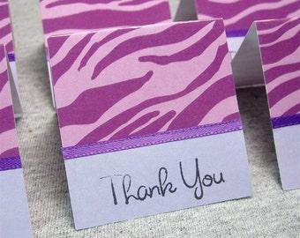 Purple Zebra Print Mini Thank You Cards 2x2 (6)