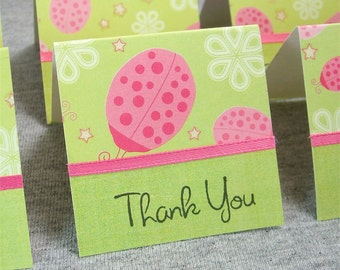 Green with Pink Ladybugs Mini Thank You Cards 2x2 (6)