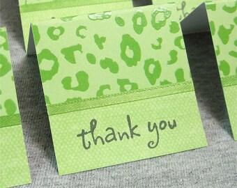 Green Cheetah Print Mini Thank You Cards 2x2 (6)