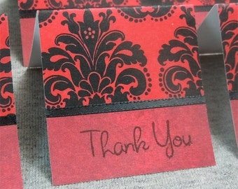 Red with Black Damask Mini Thank You Cards 2x2 (6)