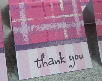 Pink with Chalk Lines Mini Thank You Cards 2x2 (6)