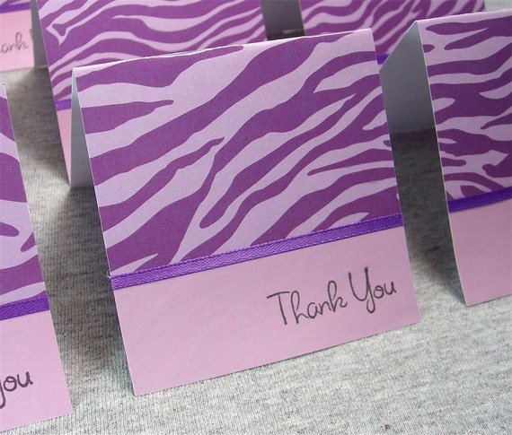 Purple Zebra Print Thank You Note Cards WITH Envelopes 3x3 (8)