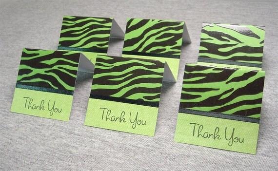 Green and Black Zebra Print Mini Thank You Cards 2x2 (6)